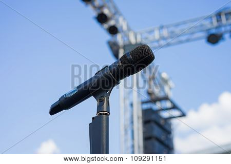 Wireless Microphone Stand On The Outdoor Venue