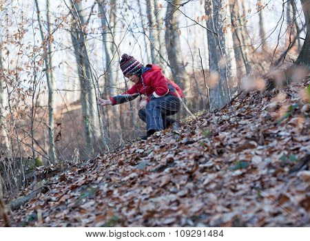 Little Girl Descending A Hill