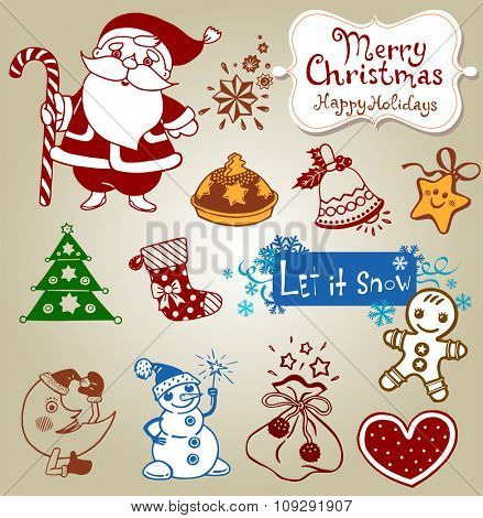 Vector Christmas doodle icons for decor or stickers