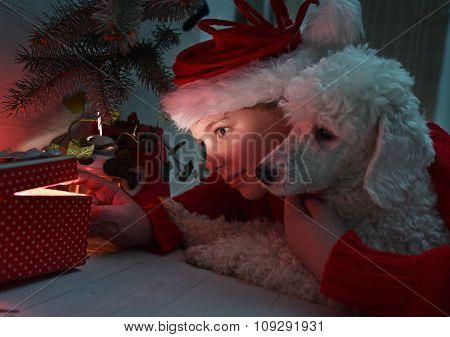 Little Girl And  Dog Opening A Present