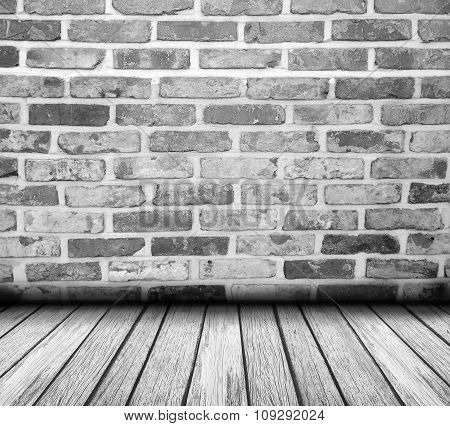 Brick Wall Background With Wood Floor