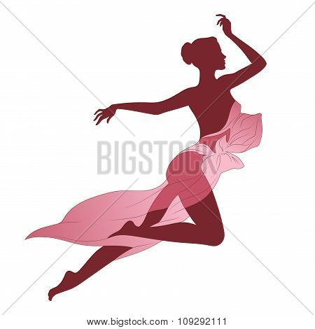 Vector illustration beautiful slim female silhouette