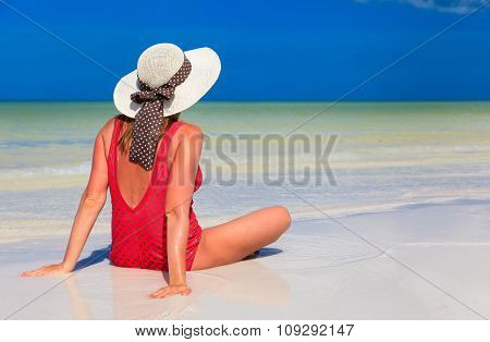 young woman relax on summer beach