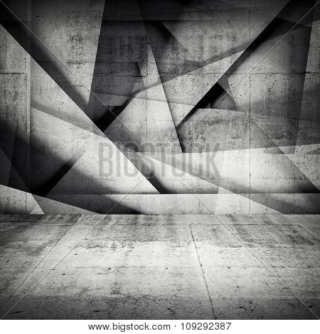 Chaotic Polygonal Relief Pattern On Concrete Wall