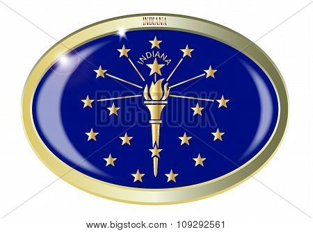 Indiana State Flag Oval Button