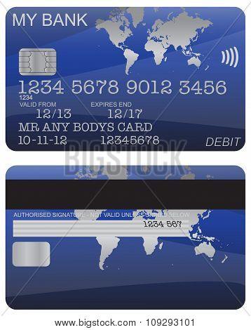 Debit Card Blue World Map