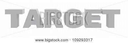 Word target on white