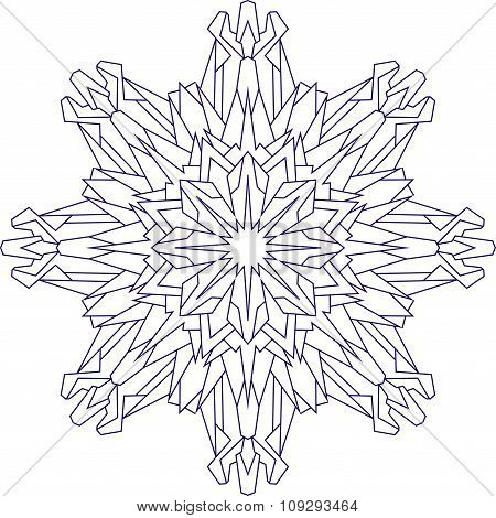 Abstract Outline Of Vector Snowflake In Blue Tones For Coloring Or Coloring Book.