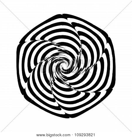 Geometric optical illusion black and white spiral flower on a white background. Vector illustration
