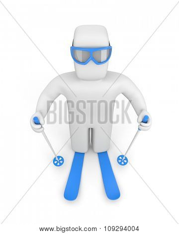 3D character in blue ski