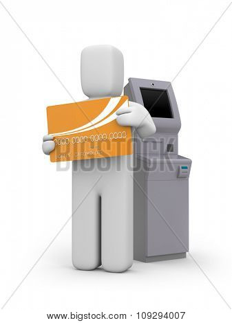 Atm machine and person with bankcard