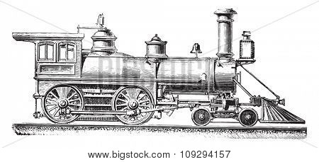 American type machine with two coupled axles, vintage engraved illustration. Industrial encyclopedia E.-O. Lami - 1875.