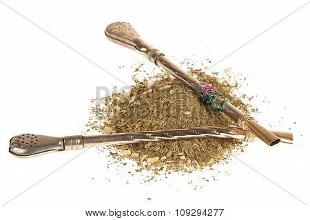 mate tea and bombillas isolated on white background,