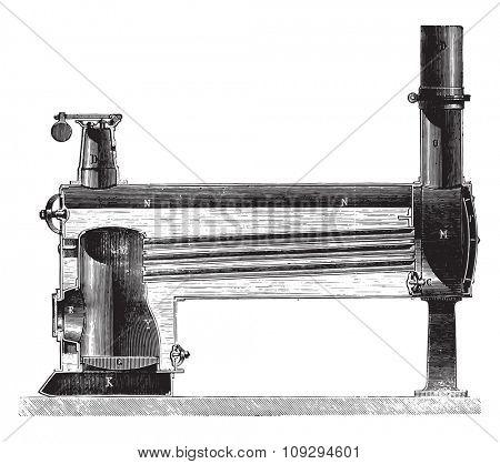 Locomobile boiler inside a home and horizontal tubes smoke, vintage engraved illustration. Industrial encyclopedia E.-O. Lami - 1875.