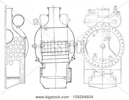 Boiler, vintage engraved illustration. Industrial encyclopedia E.-O. Lami - 1875.