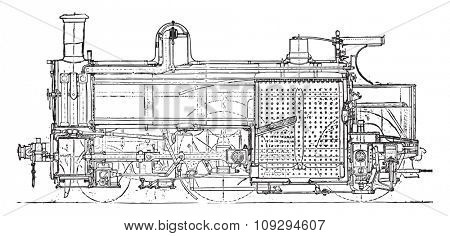 Locomotive compound of Mr. Webb, Longitudinal section, vintage engraved illustration. Industrial encyclopedia E.-O. Lami - 1875.