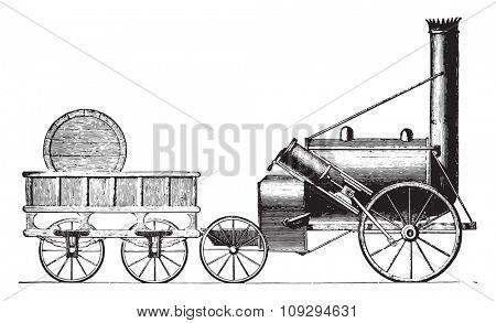 The Rocket G. Stephenson, vintage engraved illustration. Industrial encyclopedia E.-O. Lami - 1875.
