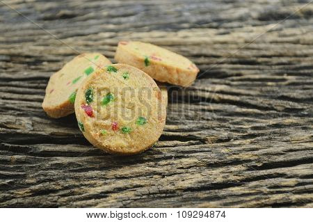 Mixed Fruits Cookies On Old Wooden Background