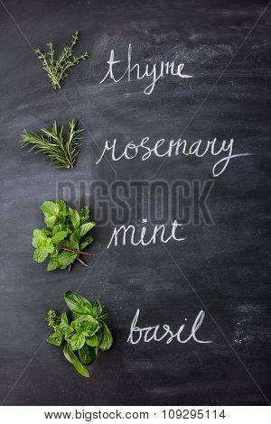 Fresh Herbs, Thyme, Rosemary, Mint, And Basil