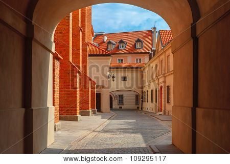 Empty street in the Old Town, Warsaw, Poland