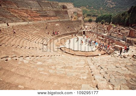Greek-roman Empire Historical Theater And Tourists Around Ephesus City