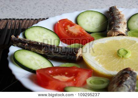 Sardine and vegetables