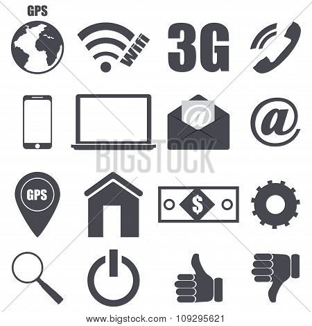 Set Of Pieces Plane Icons Relating To Technology