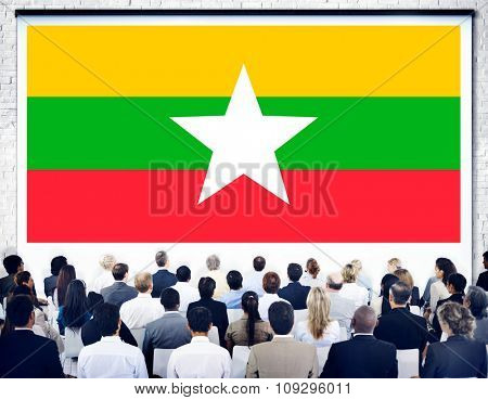 Myanmar National Flag Government Freedom LIberty Concept