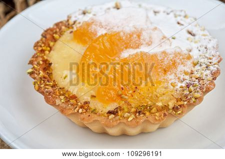 sweet cakes with fruits closeup photo