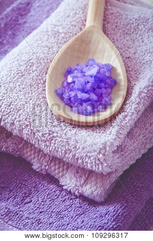 Lavender Scented Purple Bath Salt In A Wooden Spoon