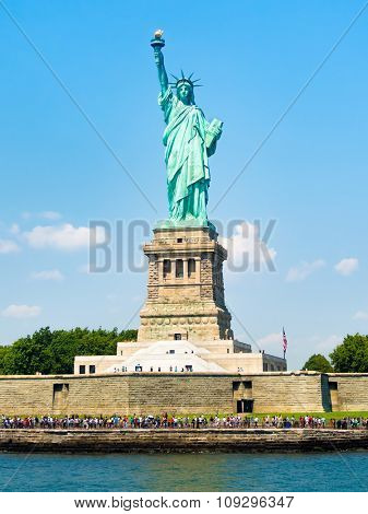 The Statue of Liberty at Liberty Island in New York City on a beautiful summer day