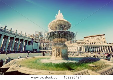 Fountain on St. Peter's square in Vatican City. Piazza San Pietro and Basilica. Vintage