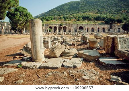 Old Town And Ruined Defensive Walls In Roman Empire Ephesus City
