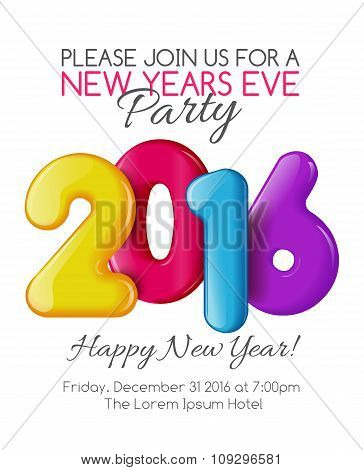 Invitation to New Year party with color numbers