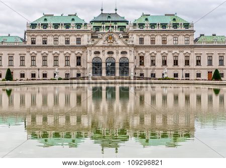 Belvedere Palace In Cloudy Day. Vienna, Austria