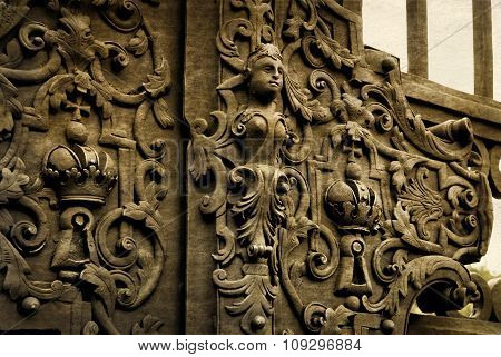 Vintage Forged Decorative Element On Metal Gate.