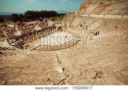 Historical Theater From Greek-roman Time And Natural Landscape Of Ephesus City