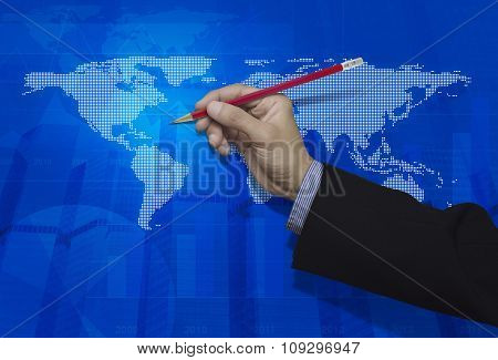 Businessman Hand Holding A Pencil Over Blue Digital World Map Background, Elements Of This Image Fur