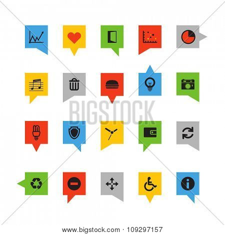 Color speech clouds with different icons isolated on white
