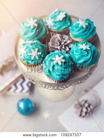 Blue Cupcakes With Snowflakes At Christmas