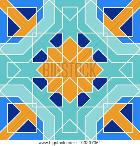Gorgeous seamless pattern from blue Moroccan tiles, ornaments.