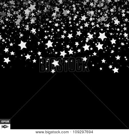 Background with Stars. Black and White Pattern. Design Template. Abstract Vector Illustration.