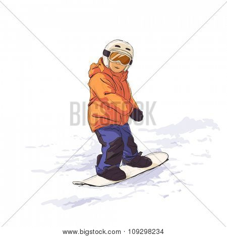 Kid slide with snowboard in the snow