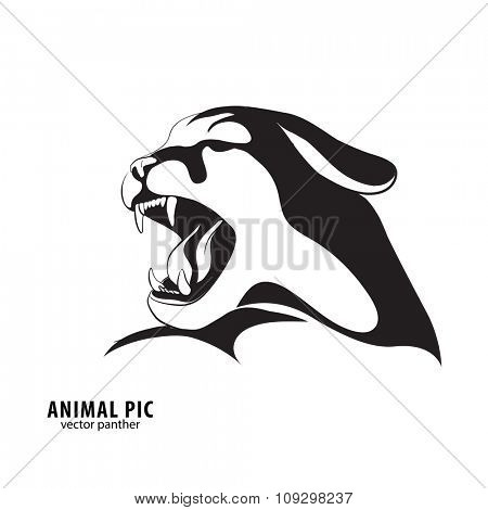 Leopard silhouette on white background