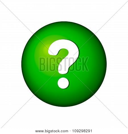 White question mark on the green icon button 3d. Vector illustration