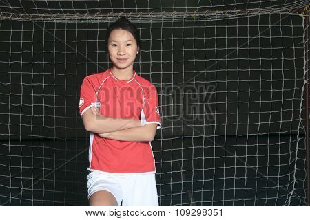female soccer player in a stadium