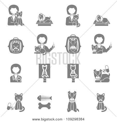 Veterinary clinic visit black icons set
