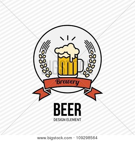 Beer And Barley Vector Label