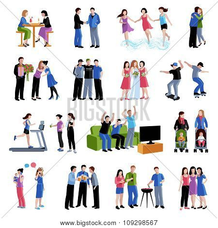 Friends buddies activities flat icons set