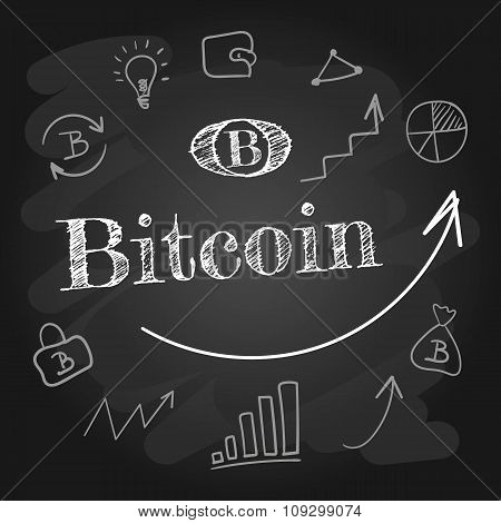 Bitcoin set of design elements. The inscription in chalk on the blackboard. Purse, the schedule up a